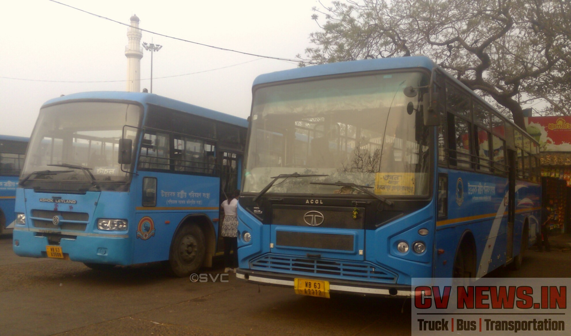 NBSTC Irizar TVS built bus on Ashok Leyland Viking chassis and ACGL built bus on Tata 1512c chassis