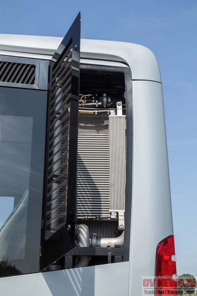 Mercedes Benz Citaro features offset mounted engine and vertically mounted cooling system